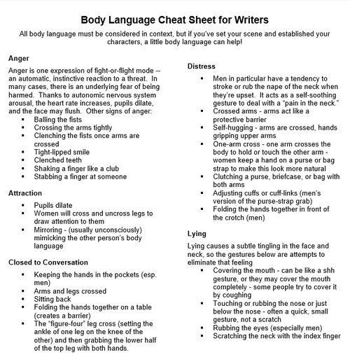"""Psychologist Carolyn Kaufman has released a one-page body language cheat sheet of psychological """"tells"""" fiction writers can use to dress their characters. Coolness."""