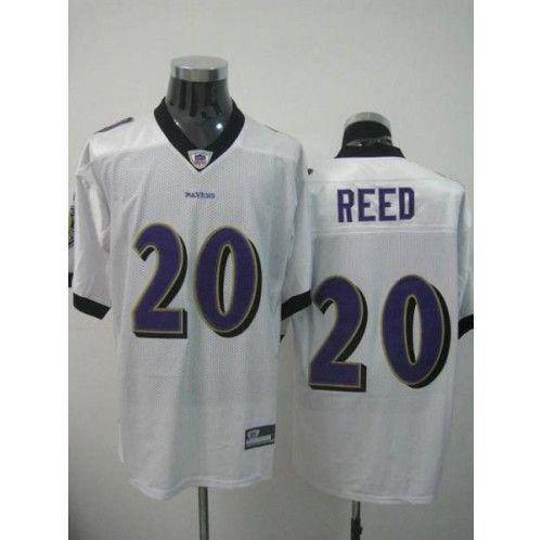4d4938fca ... Reebok Baltimore Ravens 20 Ed Reed White Away Stitched NFL Jersey ...