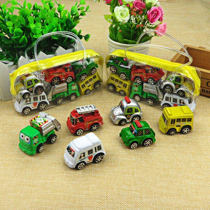 6 pcs/lot Pull Back Car Toys Voiture Enfants Voiture De Course Bébé Mini Cars Cartoon Tirez Bus Camion Enfants Toys Pour Enfants Garçon cadeaux