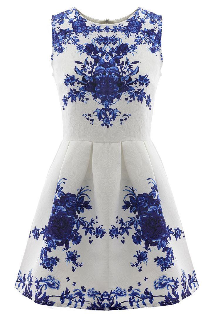 Floral Jacquard Sleeveless A-line Skater Dress - OASAP.com