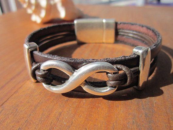 unisex dark brown women mens leather bracelet with by kekugi, $23.00