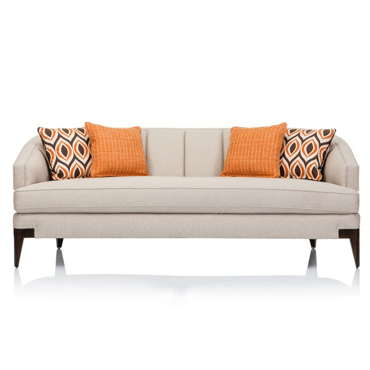 Famechon Sofa With Channeled Back And Seat Walnut Legs: Featuring Tailored Channel Back, Decorative Arm, Nailhead