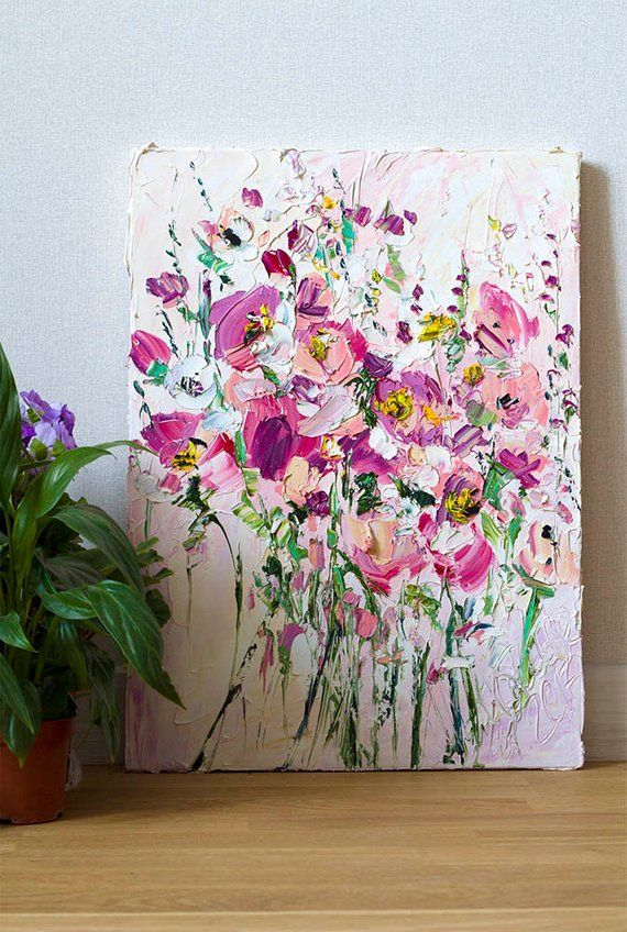 Original Oil Paintings on Canvas Palette Knife Impasto Art Lilac Pink Melted Milk Green Beige White – home sweet home