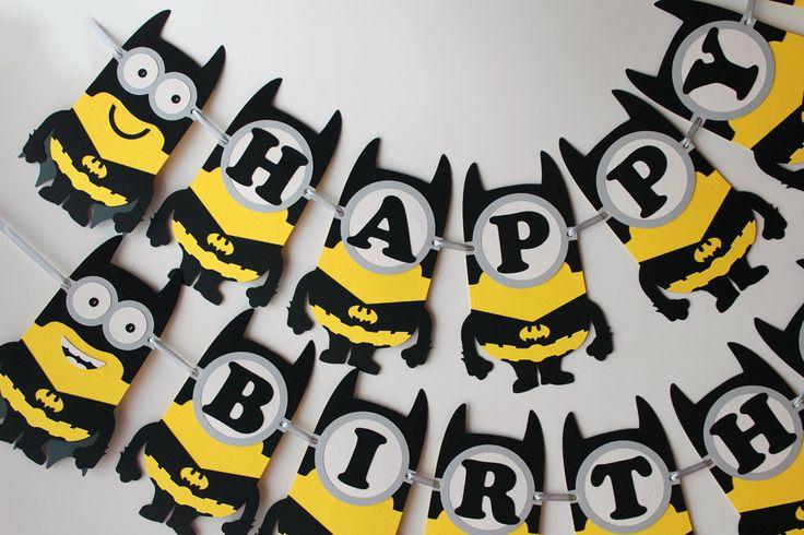 Batman minion birthday banner Batman birthday party decorations Batman banner Super Hero minion birthday party banner Batman superhero party - pinned by pin4etsy.com