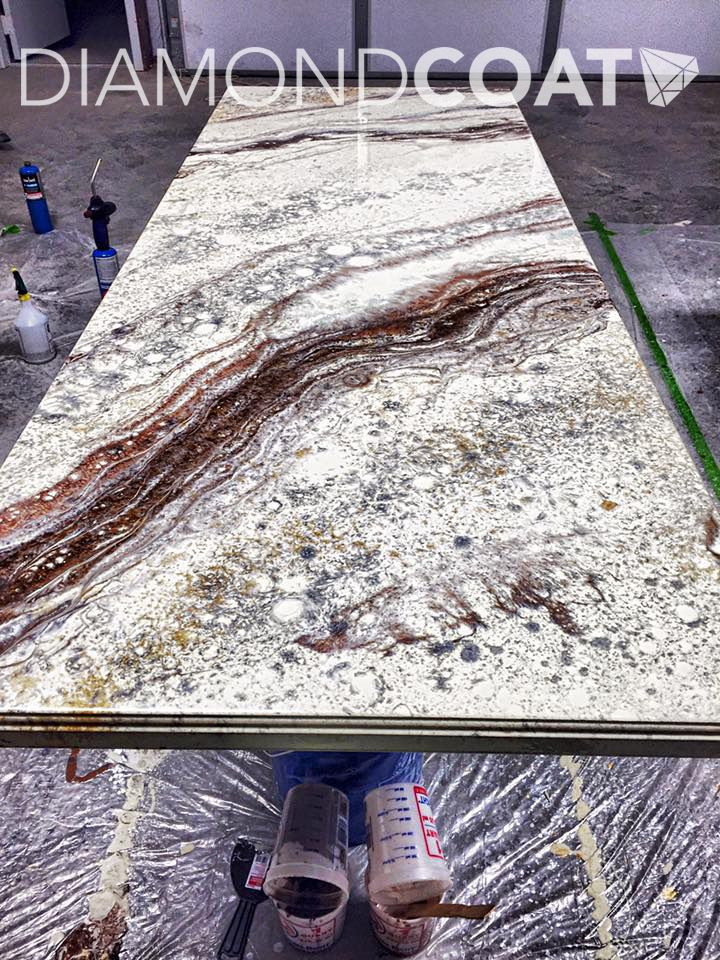 Custom countertop installation during the pouring process!