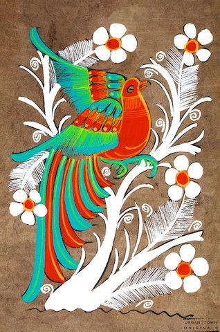 amate bird painting: turquoise, orange & white | small | $8 USD | created by Rodolfo