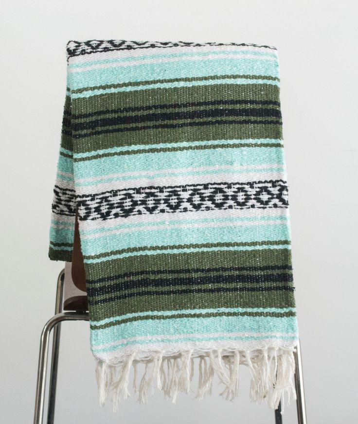 Mexican Blanket Premium Mint & Green Yoga Blanket, Hand Woven, Sarape, Aztec Throw