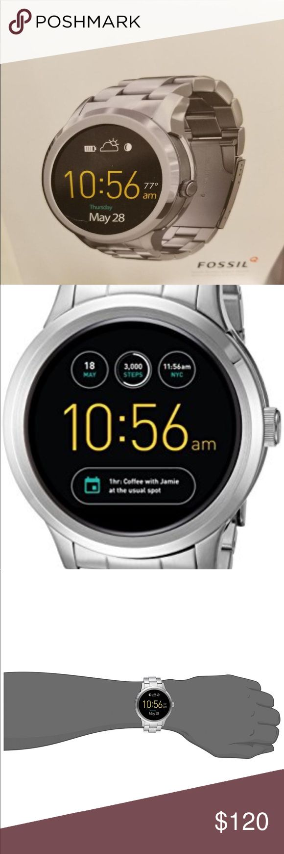 Fossil Q Founder Gen 1 smart watch silver This best of both worlds digital display smart watch, tracks activityconnects seamlessly to your phone.round 46 mm case in refined stainless steel featuring a digital display dial Compatible with all Fossil brand 22mm straps and features customizable faces to fit your style Compatible with Android Devices 4.4+ and iOS 8.2+ / iPhone 5+ Receive display notifications like email, phone calls and texts, and social media notifications and connect to your…