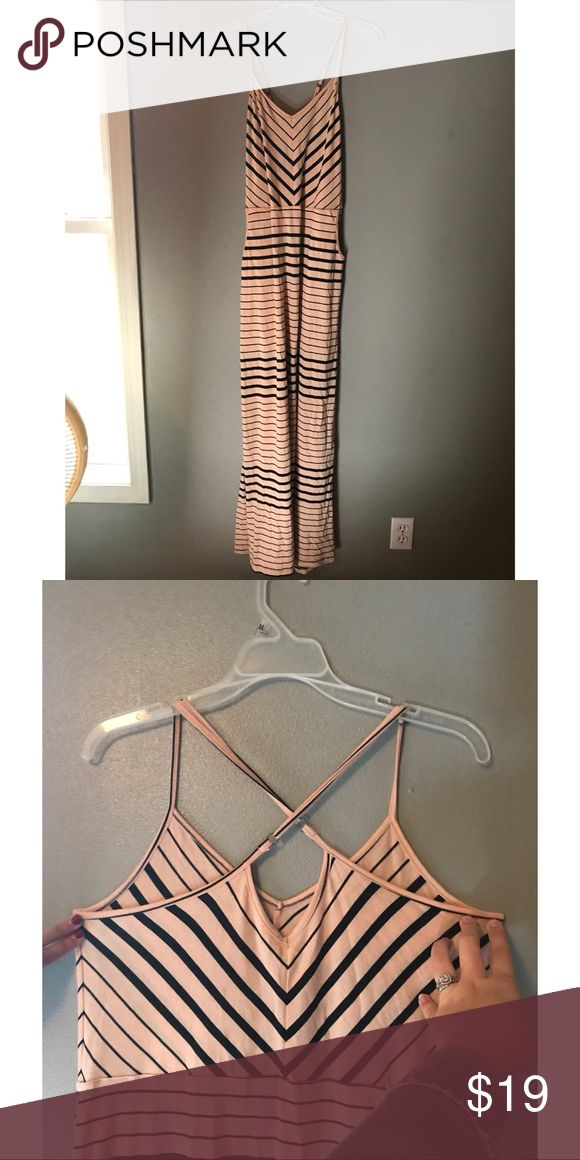 Volcom maxi dress Tan and black stripped maxi dress. I bought it from PacSun and never wore it because it was too big on me. It has pockets on the side and a cute criss-cross detail on the back of the dress. Volcom Dresses Maxi