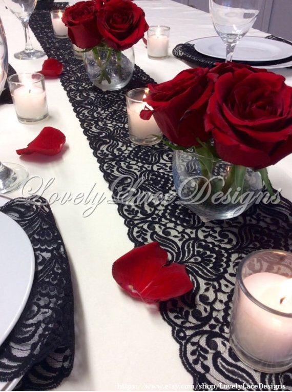 Chemin de Table noir dentelle, 3ft-10 pi x 6,5 po, décor superposition/Table de Table dentelle, mariage, Decor table mariage Decor/Centre/Saint-Valentin