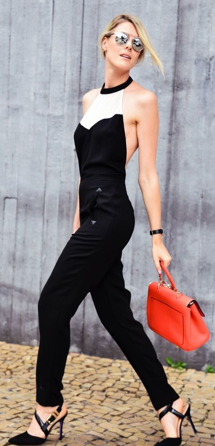 Black And White Street Chic Halter Jumpsuit