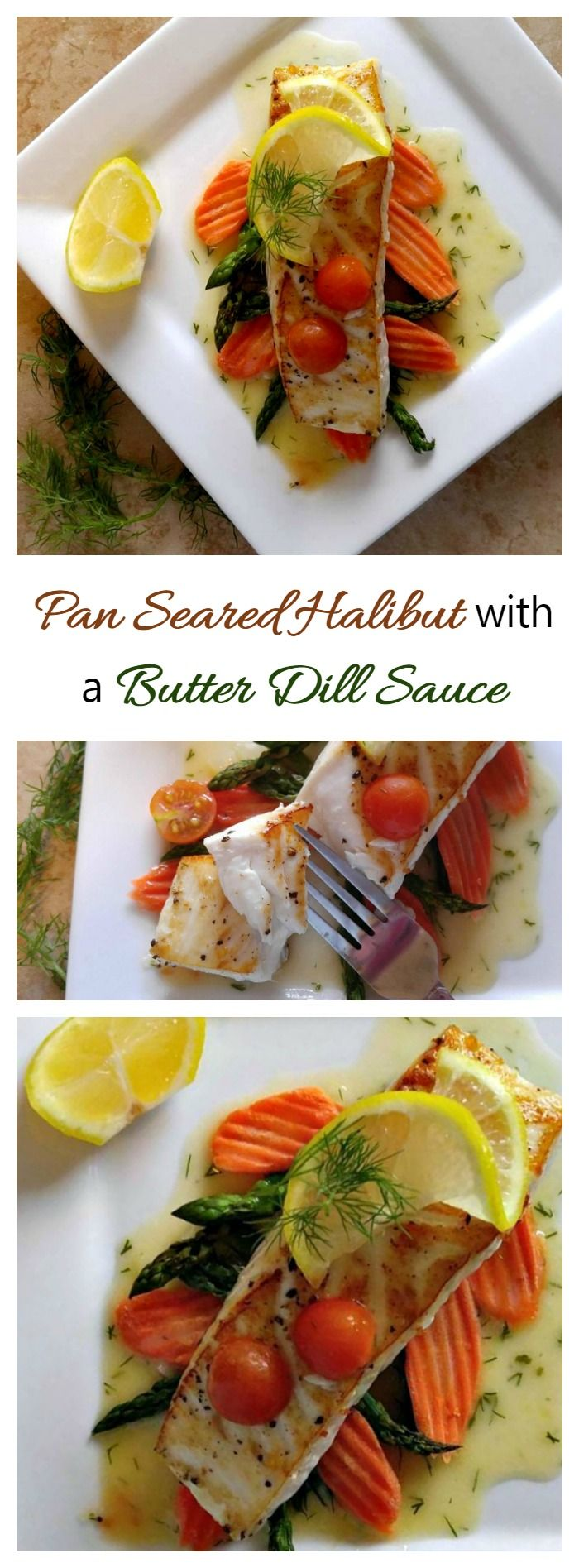 This Pan seared halibut with a butter dill sauce recipe is delicate and flavorful. The sauce is made before cooking the fish to make sure that the recipe turns out well every time. #ad #IC #AskForAlaska @alaskaseafood