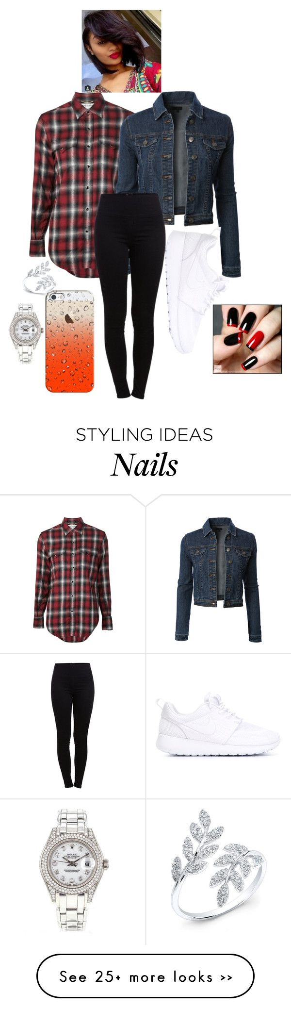 """Untitled #1419"" by lylydenisegaston on Polyvore featuring Yves Saint Laurent, LE3NO, Pieces, NIKE, Casetify and Rolex"