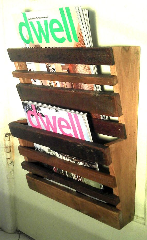 wooden wall magazine rack 2