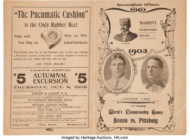 Baseball Collectibles:Programs, 1903 World Series Game Eight Program--Boston Americans (Red Sox)Clinch Championship!...