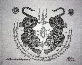 Thaise traditionele kunst van Talisman Tiger Leap door AmornGallery
