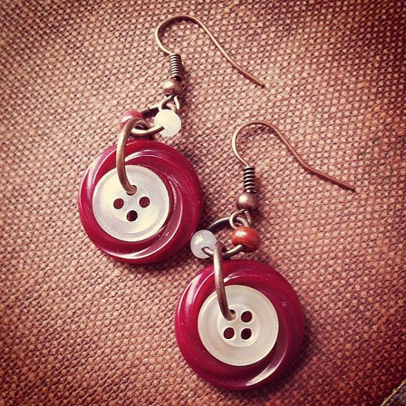 Red Velvet Dangles - Vintage button earrings by thelibraryfaerie, $5.99 - jewelry sites online, jewellry jewelry, shopping jewelry online *sponsored https://www.pinterest.com/jewelry_yes/ https://www.pinterest.com/explore/jewellery/ https://www.pinterest.com/jewelry_yes/body-jewelry/ http://www1.macys.com/shop/jewelry-watches?id=544