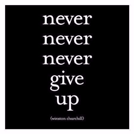 """Quotable Card Winston Churchill """"Never Never Never Give Up"""""""