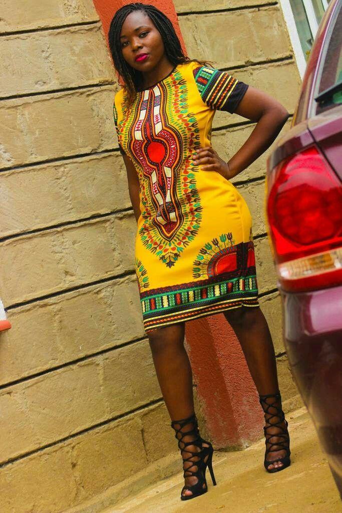 African, Kitenge, Dashiki dress outfit, braids, lace up shoes, black gladiator heels