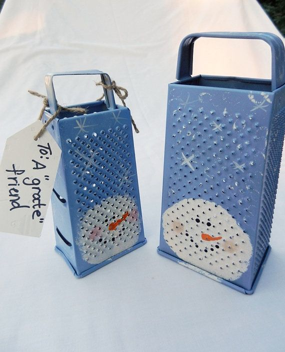 CHRISTMAS SNOWMAN GRATER with tea light by midwesterntreasures, $12.00