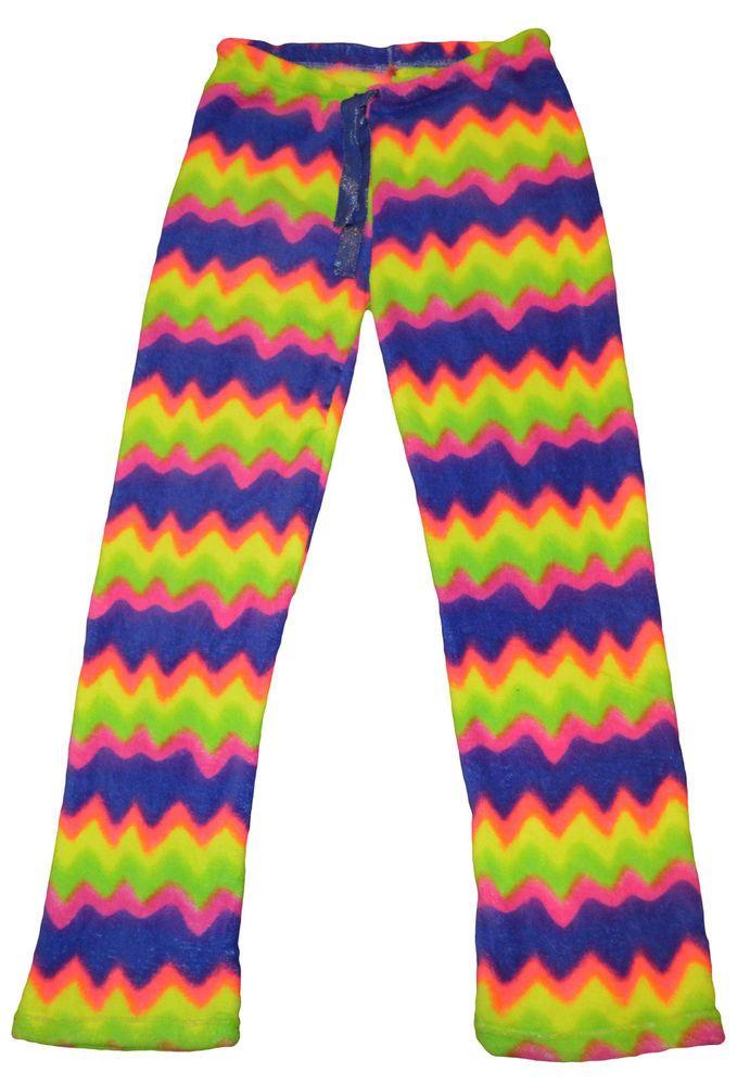 Ladies Tarea Rue 21 Bright Multi Zig Zag Plush Lounge Sleep Pants Sizes M, L #tarea #LoungePants