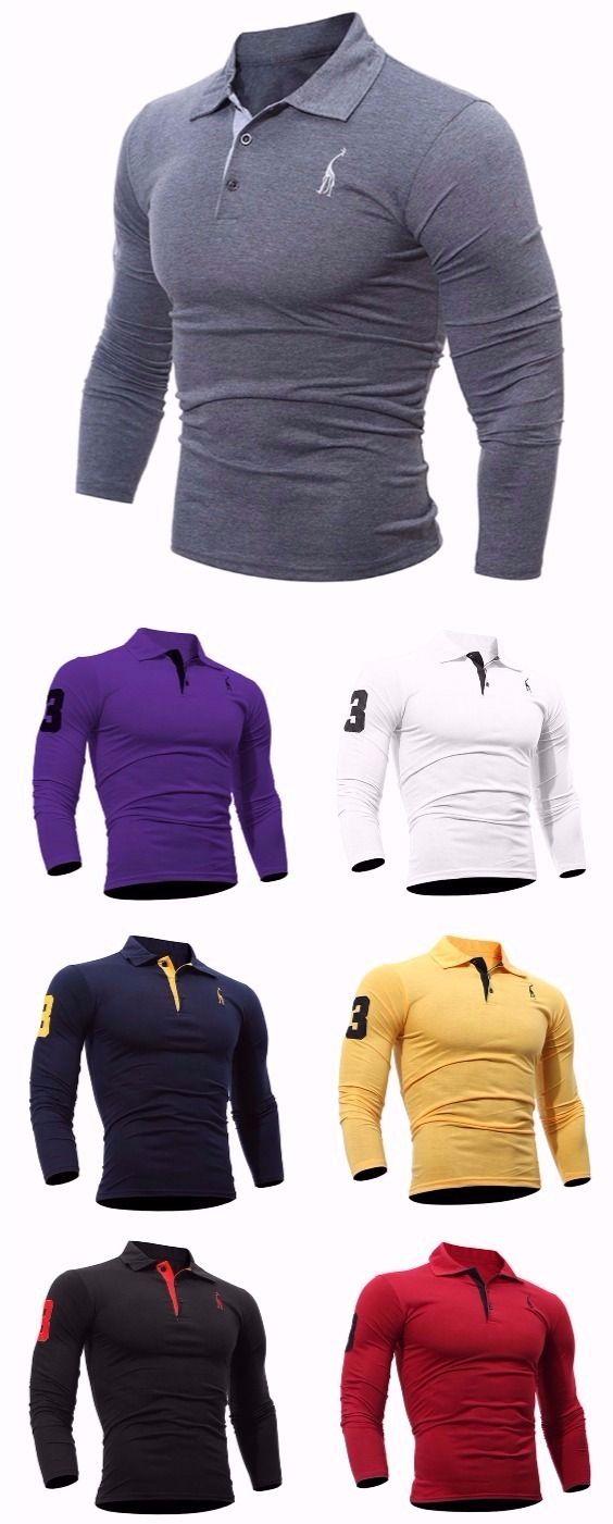 Fashion Deer Embroidery Polo Shirt Turndown Collar Long Sleeve Spring Fall Casual T-Shirt