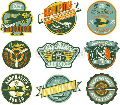 Vecteur : Aviation badges collection in retro style                                                                                                                                                                                 Plus