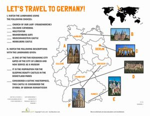 Fifth Grade Geography Worksheets: German Landmarks