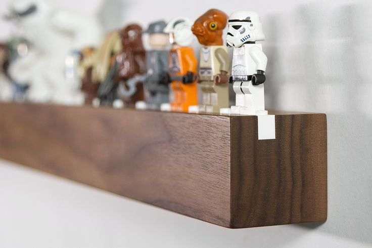 """AmazonSmile: Lego Display / Storage Shelf for 25 Figures / Minifigs, Solid American """"Black"""" Walnut, by Chroble: Toys & Games"""