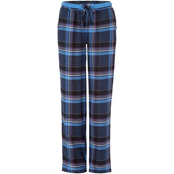 DKNY Plaid town check pant ($50) ❤ liked on Polyvore featuring pants, blue multi, women, blue pants, dkny, blue trousers, blue cotton pants and tartan pants
