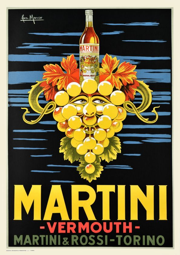 Vintage Italian Posters ~ #Italian #vintage #posters ~ Martini poster printed in the sixties