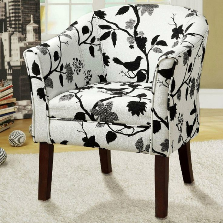 Beautiful Transitional Accent Arm Chair With White Bird Pattern In Black/White  Upholstery By Coaster Furniture 460406