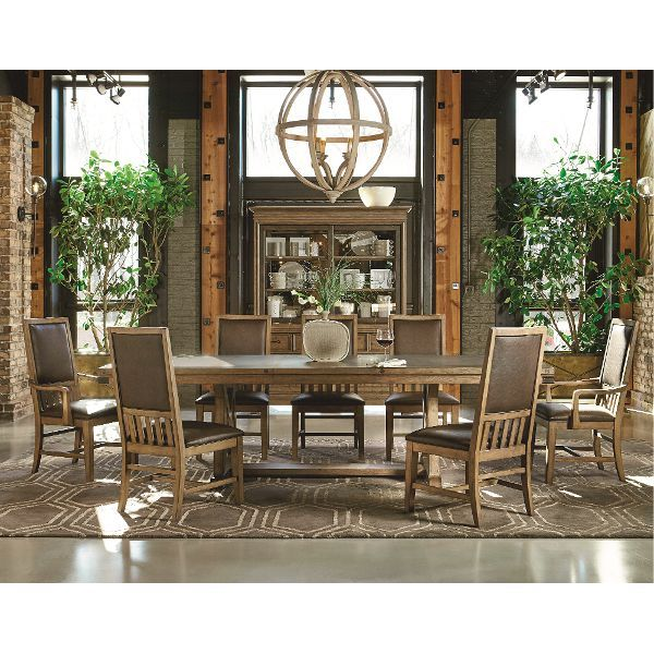 Metalworks Dining Table is completed in a rustic wood finish with a  stunning double pedestal base  Includes a leaf for large family gatherings  in a formal  340 best Dining Room Furniture images on Pinterest   Dining room  . Formal Dining Room Sets Houston Tx. Home Design Ideas