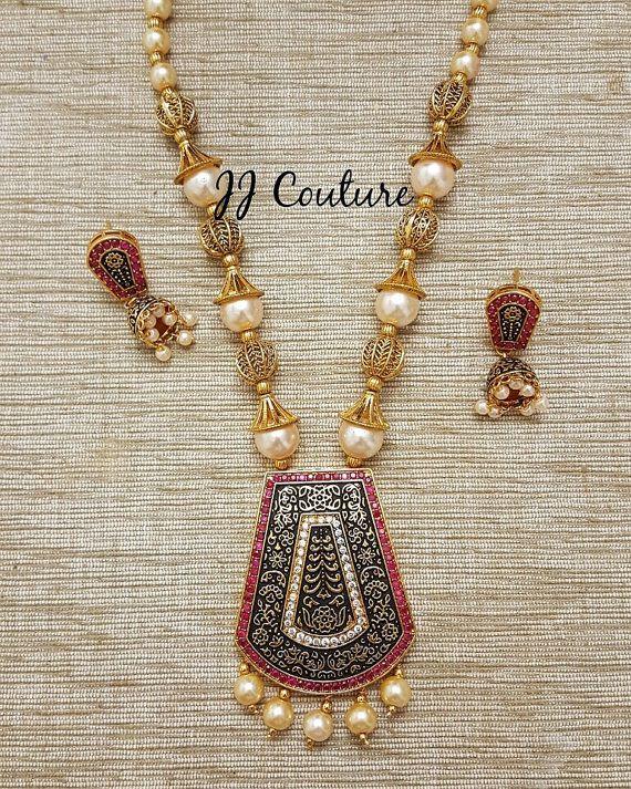 Designer Bollywood Black Pendant Set Indian by JJCOUTUREJEWELS