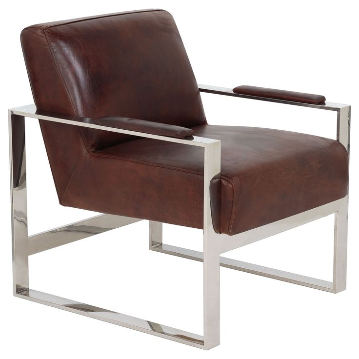 Safavieh Couture Collection Parkgate Oak Vintage Cigar Leather Occassional Chair