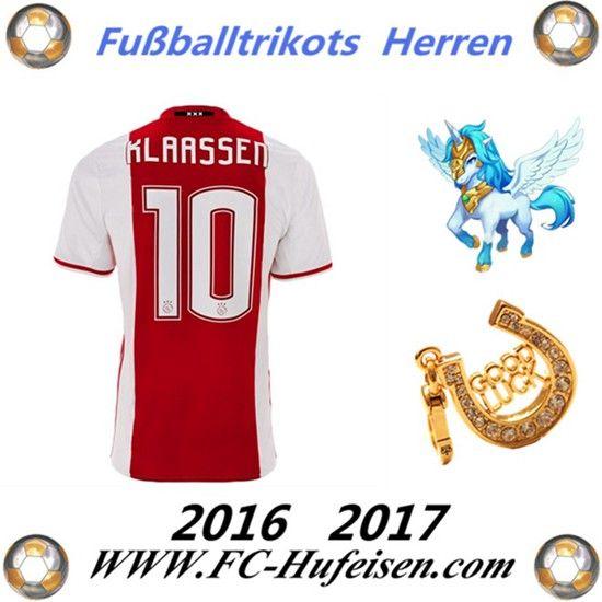 Neue Fussball Trikots Ajax Amsterdam (KLAASSEN 10) Heim Saison 2016 2017 Billig