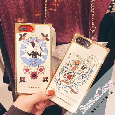 Dior(ディオール)タロットカード 占い 恋愛運 恋人 女教皇 運命の輪 カバー型 TPUソフトケース for iPhone8/7S/7/6S/6/Plus