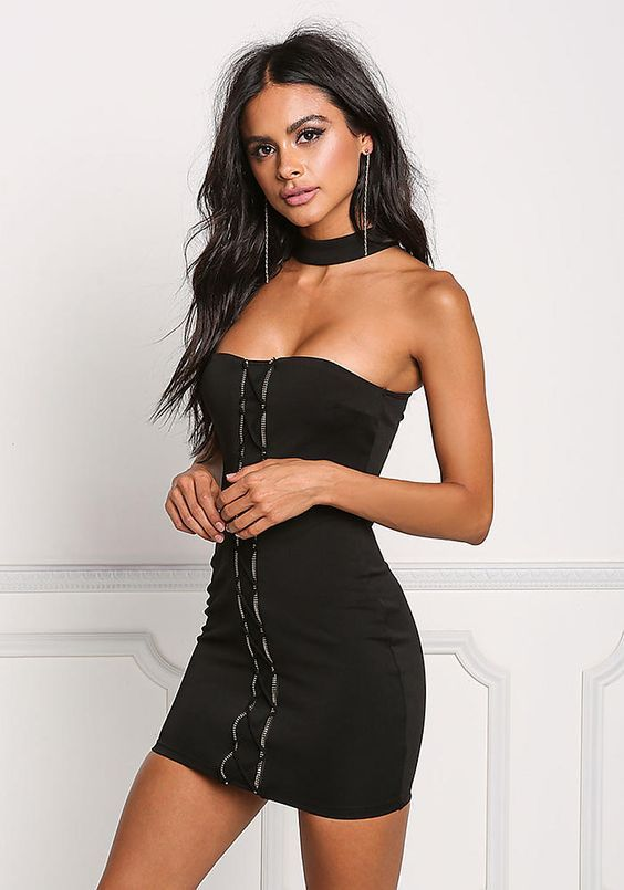 Black Choker Zipper Cross Strap Bodycon Dress – New