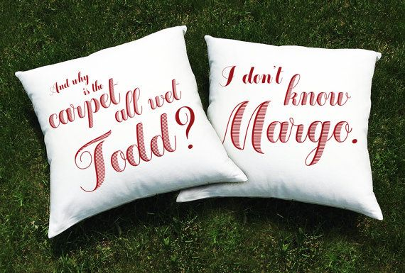 "Christmas Vacation Movie Throw Pillow Cover SET (2 CASES) - 20""x20"" - Why is the Carpet All Wet Todd? I Don't Know Margo"