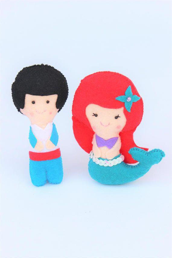 Muñecos de fieltro: Princesa Ariel y príncipe, regalo para niña, princesas de fieltro, cuentos infantiles, cumpleaños princesa, juguete niña