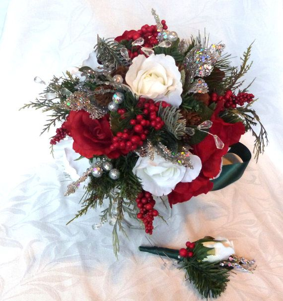 Red and white Winter wedding bouquet and boutonniere holiday bridal bouquet