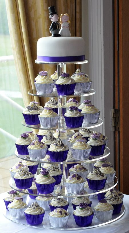 Silver & Purple cupcake tower...love this,perfect idea for our vow renewal