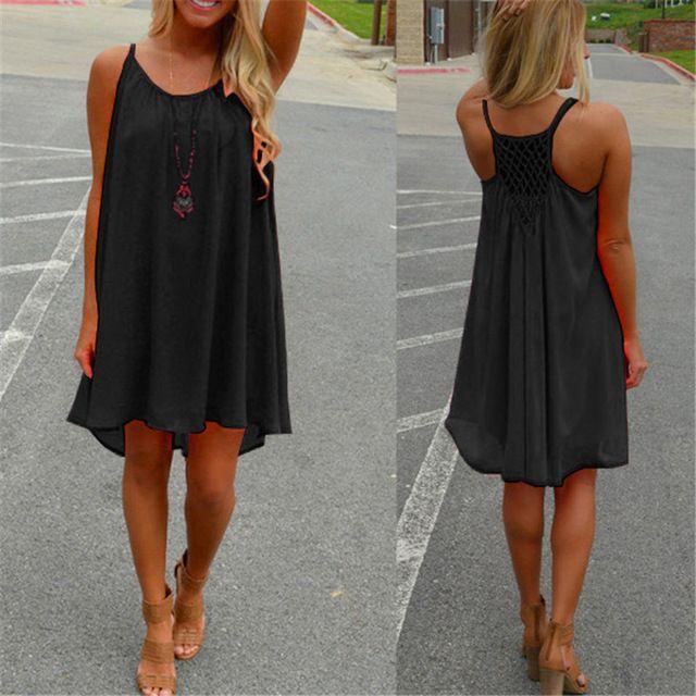 Just $6.91, Buy Fashion Women Boho Summer Dress Spaghetti Strap Hollow Out Sexy Chiffon Beach Mini Dress See Through Sundress Vestidos Casual