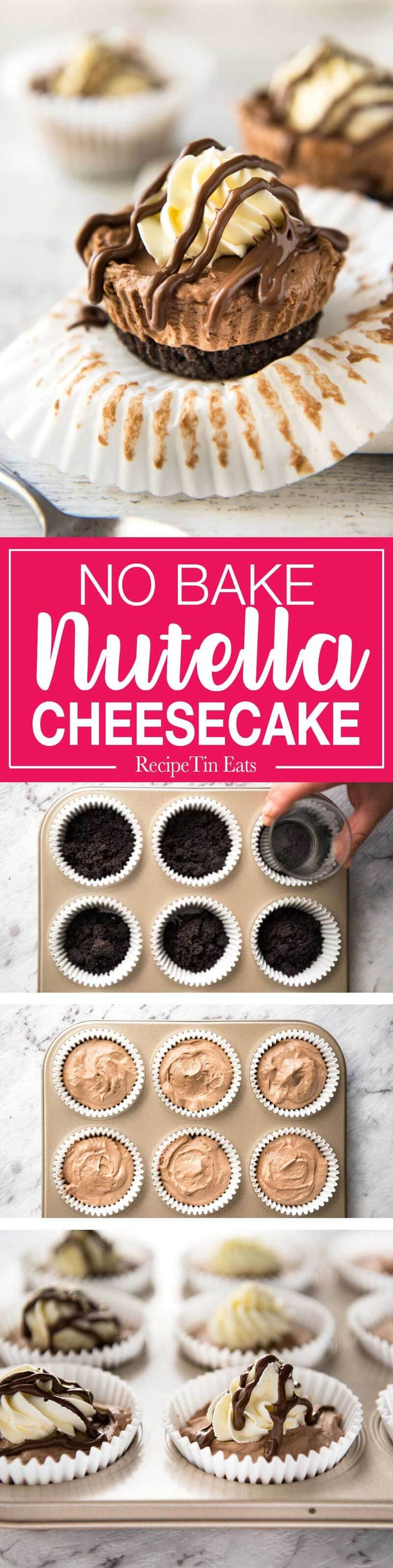 No Bake Nutella Cheesecake - Mini ones made in a muffin tin! A biscuit base and light mousse-like Nutella flavoured cheesecake. Easy to make…