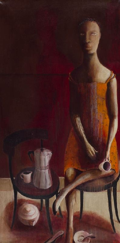 'See Line Woman, she drink coffee, she drink tea, then she go home' by South African artist Deborah Bell (b.1957). Oil on canvas, 46.75 x 23.5 in. via John Martin Gallery
