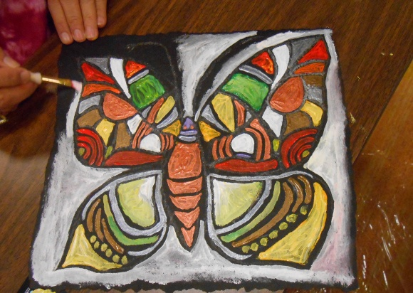 from It is Art Day blog: painting on roofing felt! from workshop at Texas AEA conference.