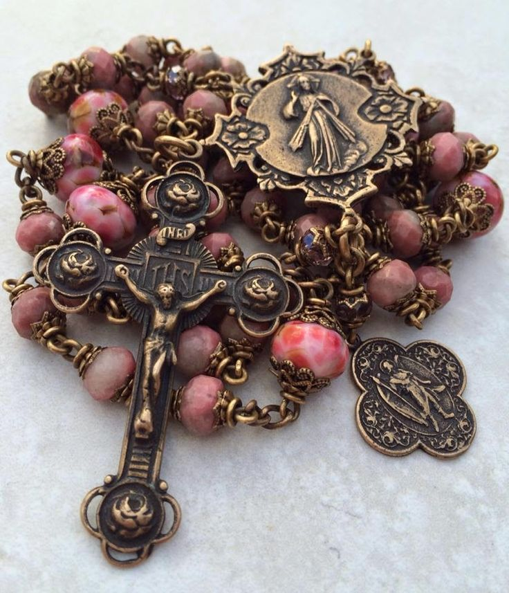 Pink Rhodocrosite and Bronze Rosary by All Beautiful Catholic Beads
