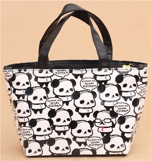 black and white Ojipan pandas lunch bag thermal bag from Japan 2