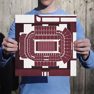 Kyle Field located at Texas A&M University in College Station, Texas | College football prints from City Prints put you back in the stands on Saturdays. City Prints look like modern art and remind you of the unforgettable moments you experienced in your favorite seats