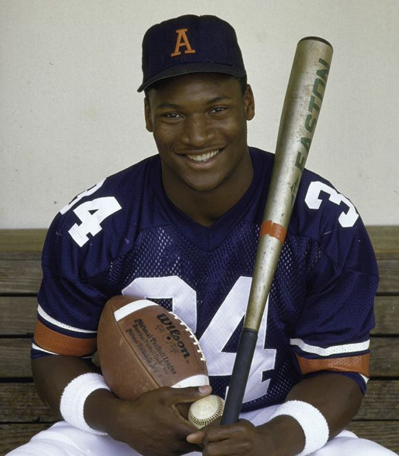 Bo Jackson played (base & foot) ball at Auburn, and later in the pro's. He was extraordinary at both games at both levels.